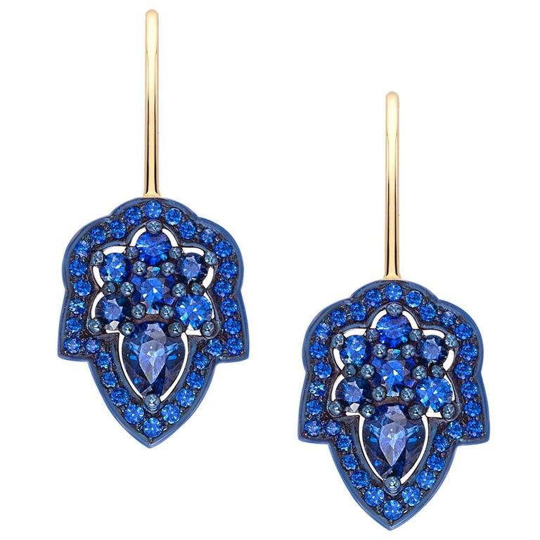 Ana de Costa Blue Sapphire Yellow Gold Pear Drop Earrings