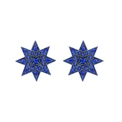 Ana de Costa 18 Carat Yellow Gold Blue Gold Star Sapphire Stud Earrings