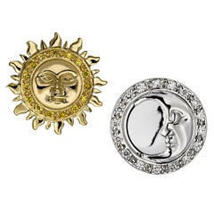 Ana De Costa Yellow White Gold White Diamond Sun Moon Circular Stud Earrings