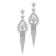Ana de Costa Pear Round White Diamond Platinum Paisley Drop Chain Earrings