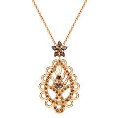 Ana De Costa Rose Gold Pear Round Cognac Diamond Paisley Drop Chain Pendant