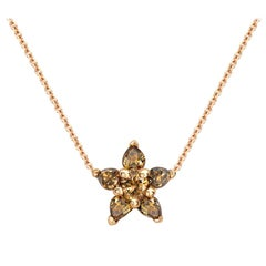 Ana de Costa Cognac Diamond Rose Gold Flower Chain Drop Pendant