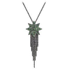 Ana de Costa Blackened White Gold Green Tsavorite Star Drop Chain Pendant