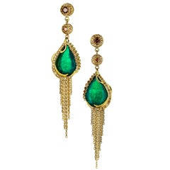 Ana de Costa Yellow Gold Emerald Cognac Diamond Chain Drop Tassel Earrings