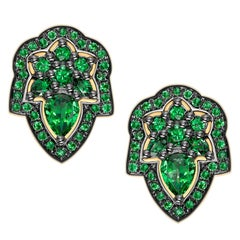 Ana De Costa Green Pear Round Tsavorite Garnet Yellow Gold Stud Earrings