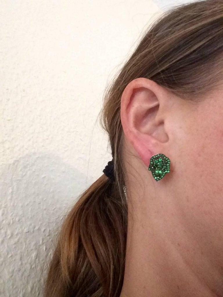 Ana De Costa Green Pear Round Tsavorite Garnet Yellow Gold Stud Earrings For Sale 3