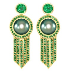 Ana De Costa Black Tahitian Pearl Green Round Tsavorite YellowGold Drop Earrings
