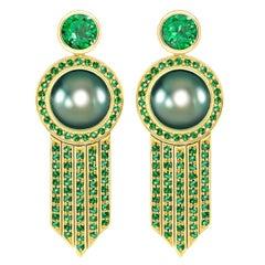 Ana De Costa schwarze Tahiti Perle grüne Runde Tsavorit YellowGold Tropfen Ohrringe
