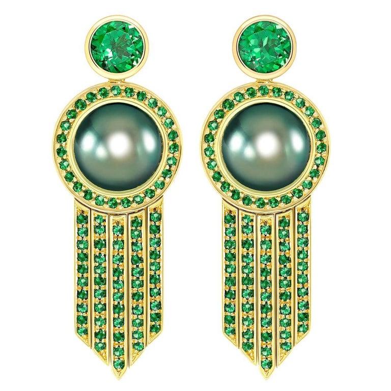 Ana De Costa schwarze Tahiti Perle grüne Runde Tsavorit YellowGold Tropfen Ohrringe 1