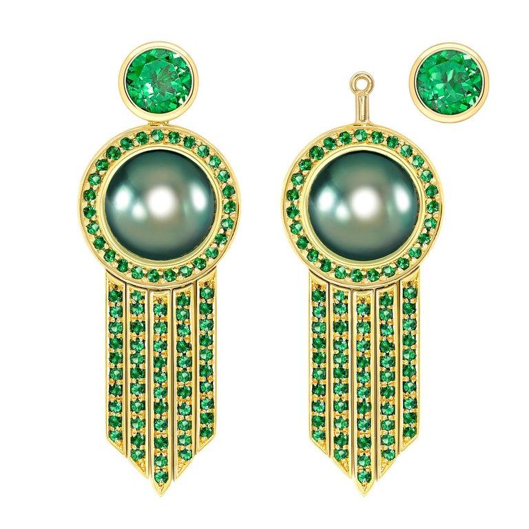 Ana De Costa schwarze Tahiti Perle grüne Runde Tsavorit YellowGold Tropfen Ohrringe 2