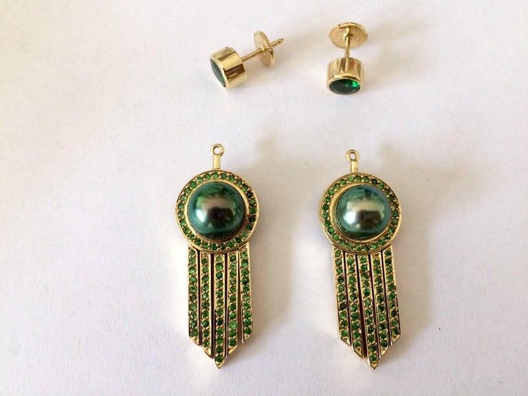Ana De Costa schwarze Tahiti Perle grüne Runde Tsavorit YellowGold Tropfen Ohrringe 5