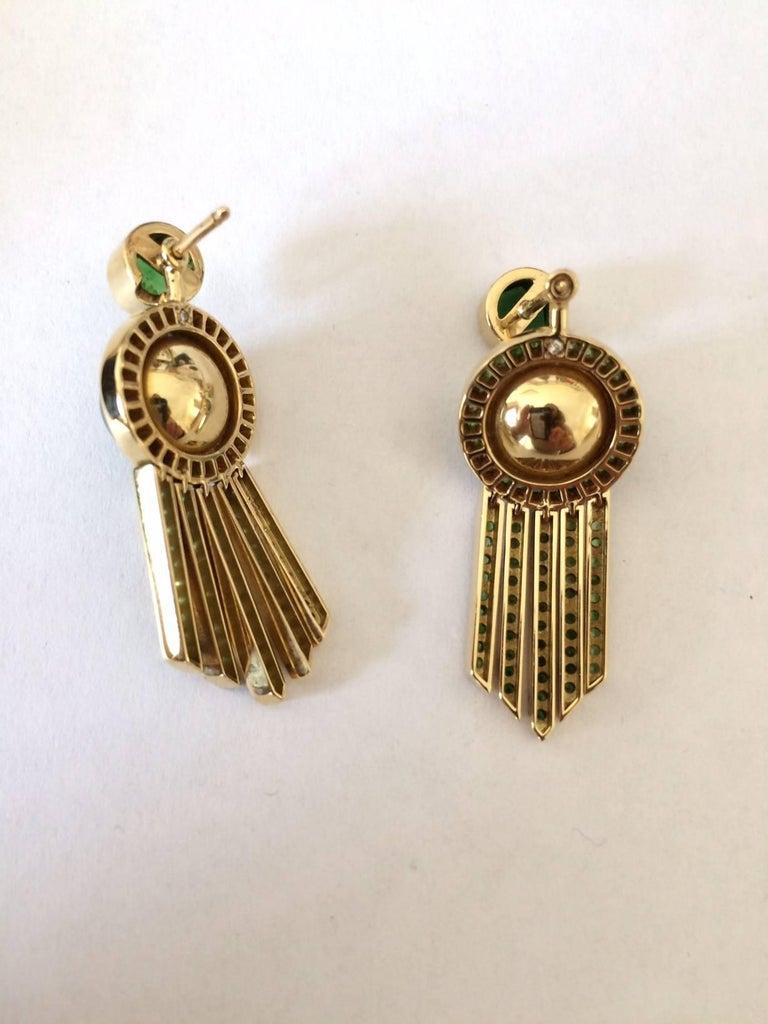 Ana De Costa schwarze Tahiti Perle grüne Runde Tsavorit YellowGold Tropfen Ohrringe 6