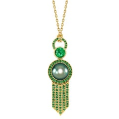 Ana De Costa Yellow Gold Green Round Tsavorite Black Tahitian Pearl Drop Pendant