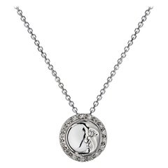 Ana De Costa White Gold White Round Diamond Circular Moon Drop Chain Pendant