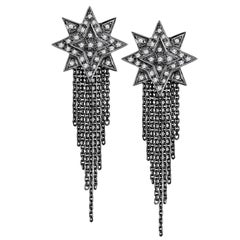Ana de Costa Blackened White Gold Round White Diamond Star Drop Chain Earrings