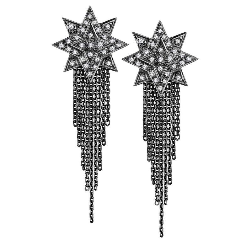 Ana de Costa Geschwärzte Weißgold Runder Weißer Diamant Stern Ohrringe 1