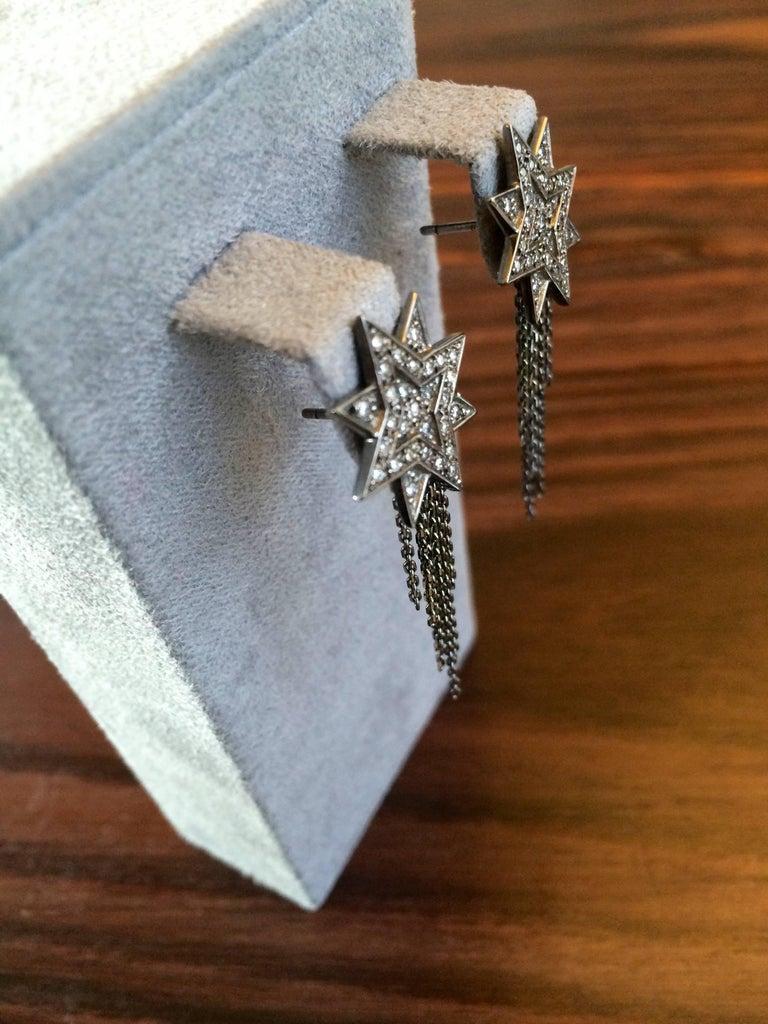 Ana de Costa Geschwärzte Weißgold Runder Weißer Diamant Stern Ohrringe 2