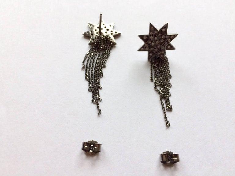 Ana de Costa Geschwärzte Weißgold Runder Weißer Diamant Stern Ohrringe 5