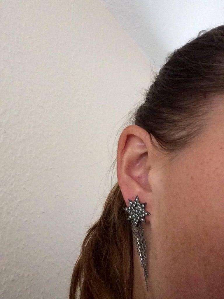 Ana de Costa Geschwärzte Weißgold Runder Weißer Diamant Stern Ohrringe 6