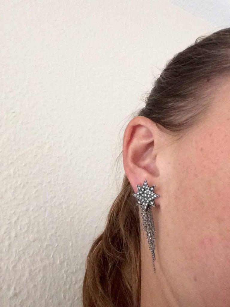 Ana de Costa Geschwärzte Weißgold Runder Weißer Diamant Stern Ohrringe 7