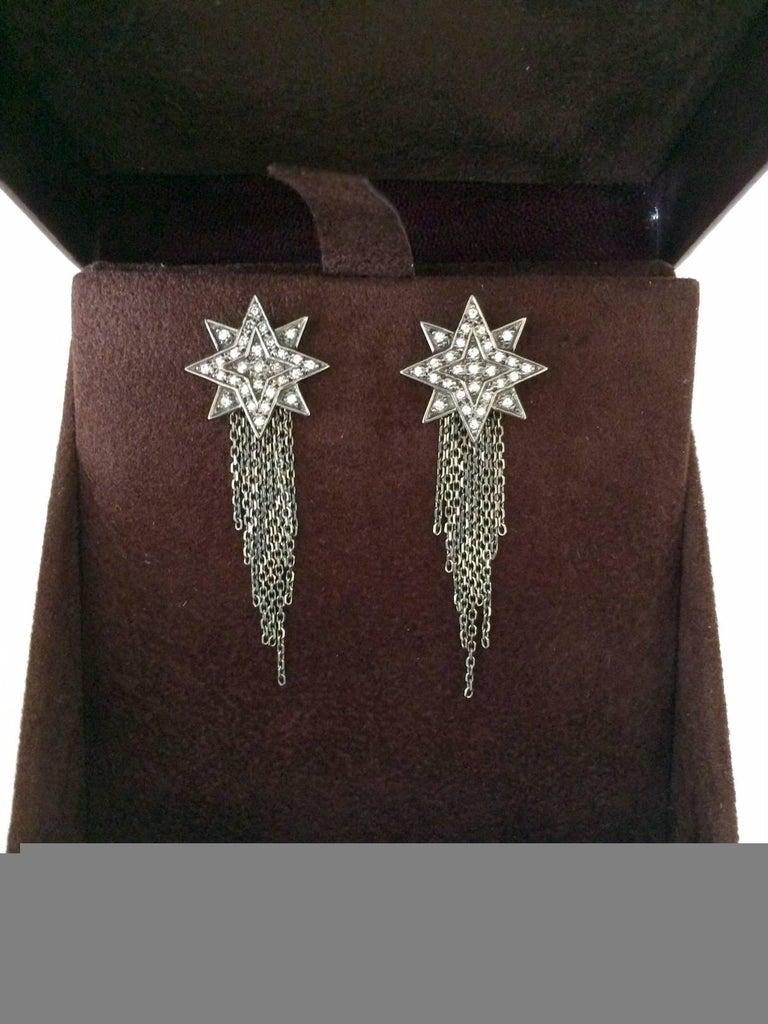 Ana de Costa Geschwärzte Weißgold Runder Weißer Diamant Stern Ohrringe 8