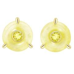 Ana de Costa Yellow Gold Yellow Diamond Yellow Round Jade Circular Stud Earrings
