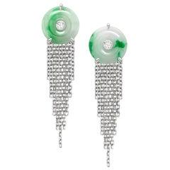 Ana de Costa White Gold White Diamond Green Jade Circular Disc Drop Earrings
