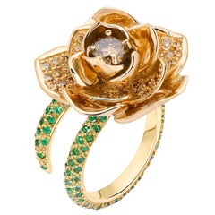 Ana de Costa Rose Yellow Gold Round Tsavorite Cognac Diamond Lotus Cocktail Ring