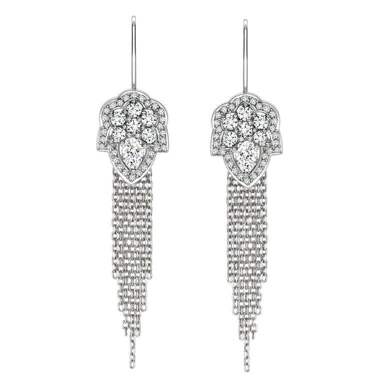 Ana de Costa White Pear Round Diamond Platinum Drop Chain Tassel Earrings For Sale