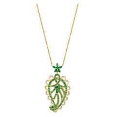 Ana de Costa Round Pear Tsavorite Garnet Yellow Gold Paisley Drop Chain Pendant
