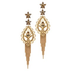 Ana de Costa Cognac Diamond Rose Gold Paisley Drop Chain Tassel Earrings