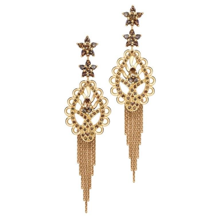 Ana de Costa Cognac Diamond Rose Gold Paisley Drop Chain Tassel Earrings