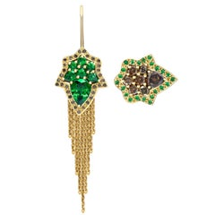 Ana de Costa Yellow Gold Pear Green Tsavorite Cognac Diamond Drop Chain Earrings