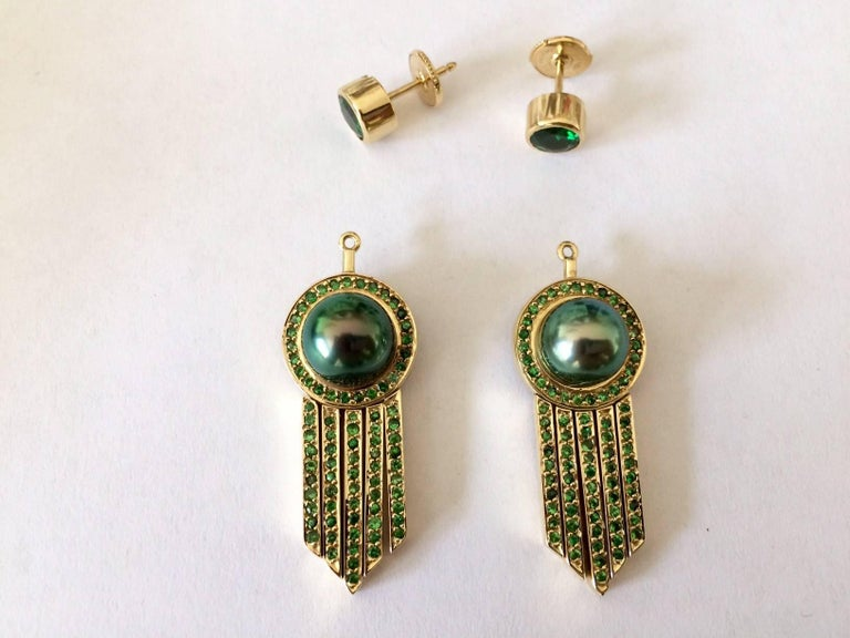 Ana De Costa Tahitian Pearl Tsavorite Gold Drop Earrings 5