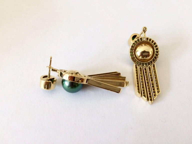 Ana De Costa Tahitian Pearl Tsavorite Gold Drop Earrings 7