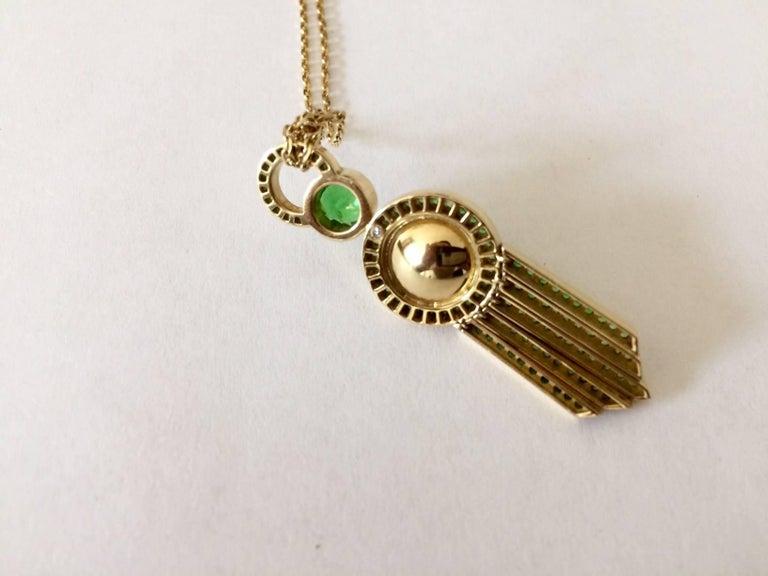 Ana De Costa Yellow Gold Green Round Tsavorite Black Tahitian Pearl Drop Pendant For Sale 1