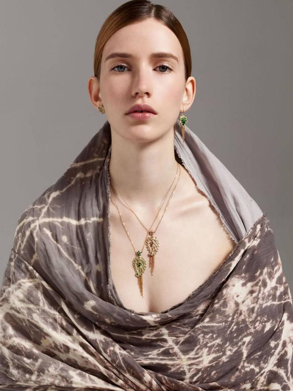 Ana De Costa Rose Gold Pear Round Cognac Diamond Paisley Drop Chain Pendant For Sale 3