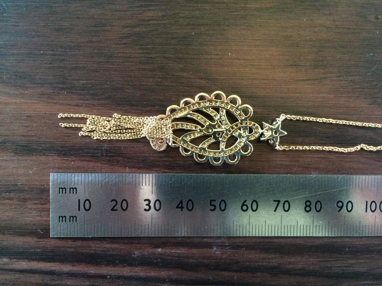 Contemporary Ana De Costa Rose Gold Pear Round Cognac Diamond Paisley Drop Chain Pendant For Sale