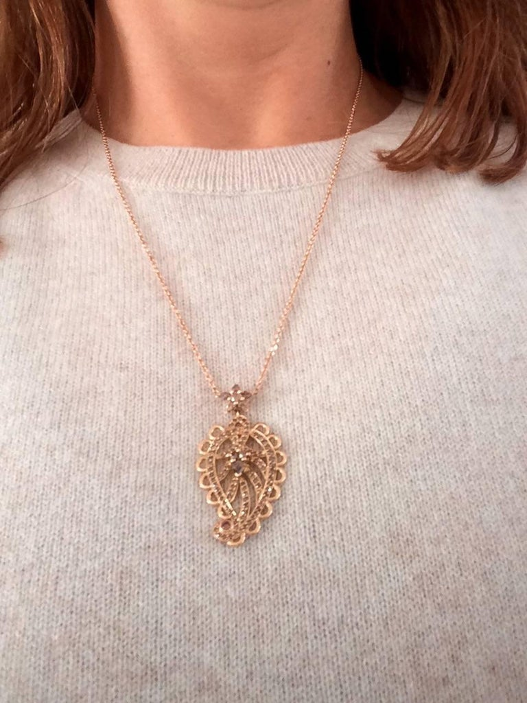 Ana De Costa Rose Gold Pear Round Cognac Diamond Paisley Drop Chain Pendant For Sale 1