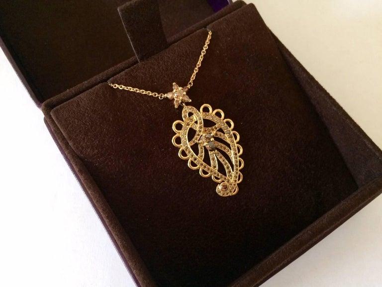 Ana De Costa Rose Gold Pear Round Cognac Diamond Paisley Drop Chain Pendant For Sale 2