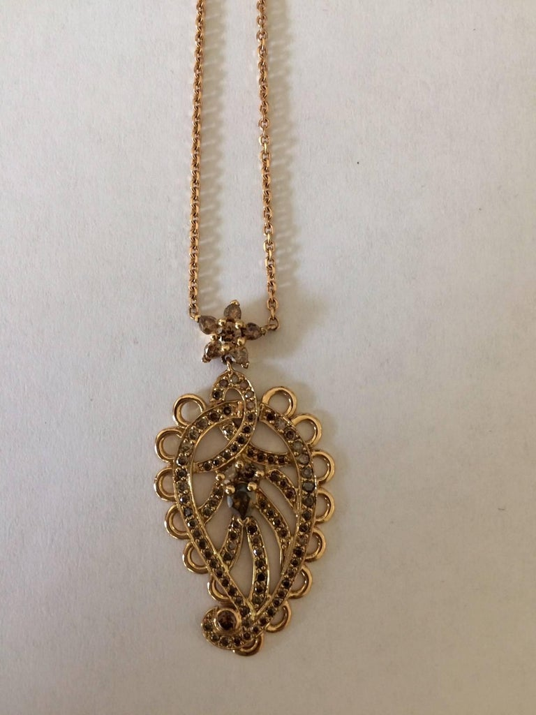 Ana De Costa Gold Cognac Diamond Paisley Pendant In As new Condition For Sale In London, GB