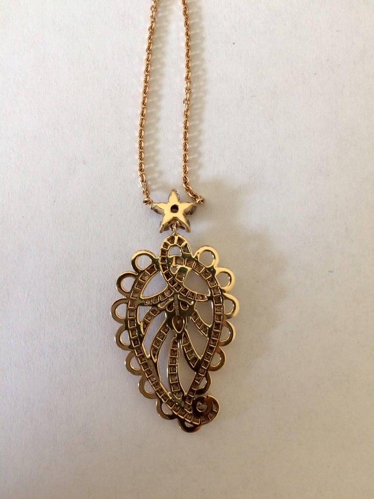 Women's Ana De Costa Rose Gold Pear Round Cognac Diamond Paisley Drop Chain Pendant For Sale