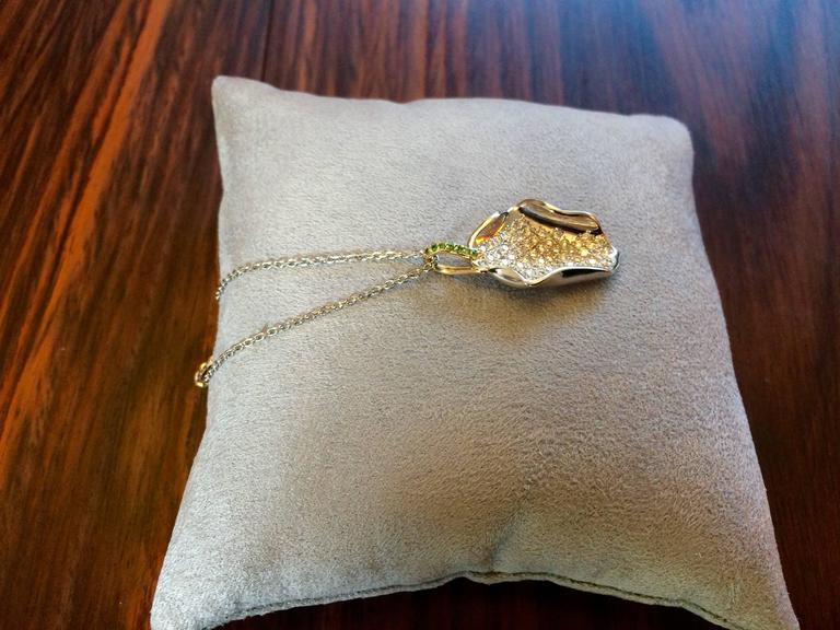 Ana De Costa Platinum Diamond Tsavorite Lotus Petal Pendant 2