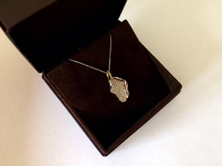 Ana De Costa Platinum Yellow Gold White Diamond Tsavorite Lotus Petal Pendant For Sale 4
