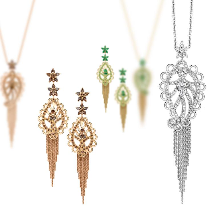 Ana de Costa Platinum Diamond Paisley Drop Pendant 7