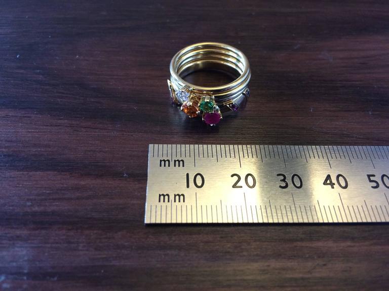 Women's Ana De Costa Yellow Gold Round Ruby Tsavorite Garnet Diamond Stacking Rings For Sale