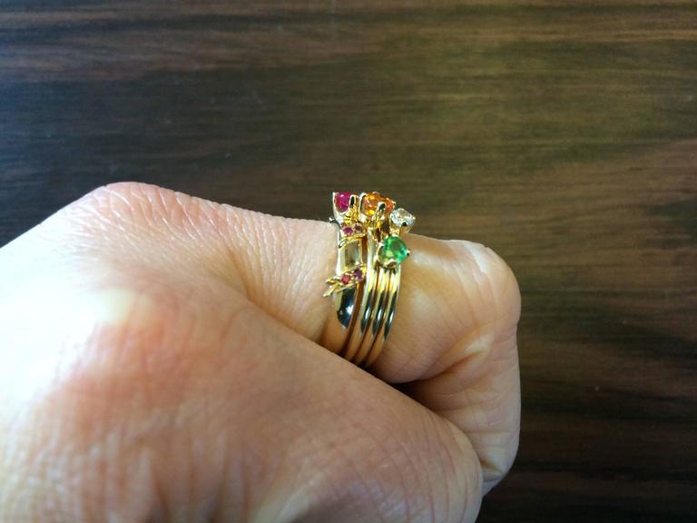 Ana De Costa Yellow Gold Round Ruby Tsavorite Garnet Diamond Stacking Rings In New Condition For Sale In London, GB