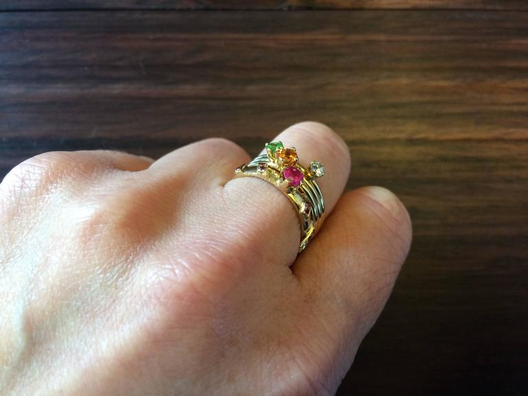 Contemporary Ana De Costa Yellow Gold Round Ruby Tsavorite Garnet Diamond Stacking Rings For Sale