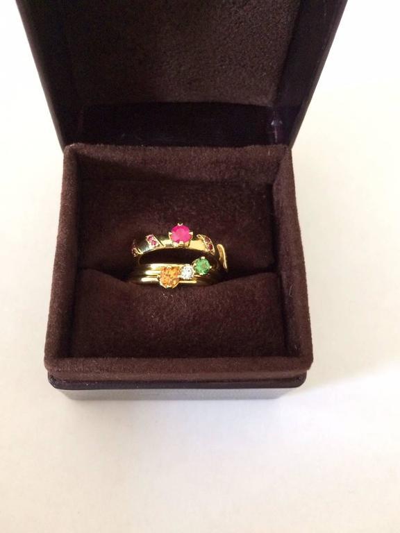 Ana De Costa Yellow Gold Round Ruby Tsavorite Garnet Diamond Stacking Rings For Sale 1
