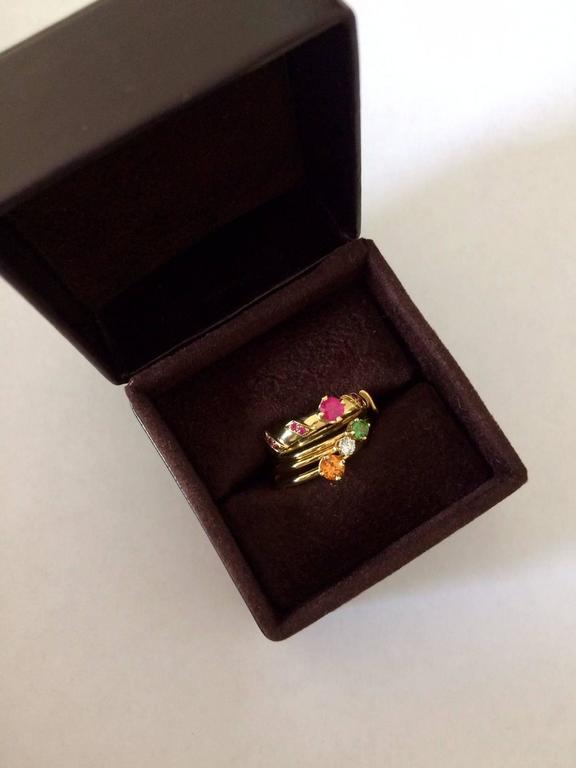 Ana De Costa Yellow Gold Round Ruby Tsavorite Garnet Diamond Stacking Rings For Sale 2
